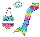 BESTYLING 4PCS Ragazze Sirena Coda Costume da bagno Principessa Bikini con Ghirlanda (110, arcobaleno)