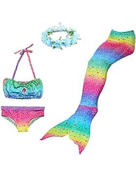 BESTYLING 4PCS Ragazze Sirena Coda Costume da bagno Principessa Bikini con Ghirlanda