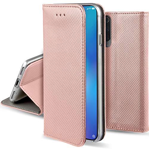 Moozy Funda para Xiaomi Mi 9 SE, Oro Rosa - Flip Cover Smart Magnética con Stand Plegable y Soporte de Silicona