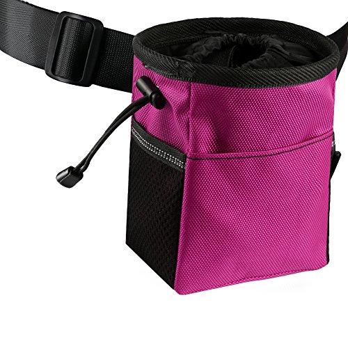 futterbeutel hund training Leckerlibeutel für Haustier Leckerlitasche mit Clip Hundeleckerlitasche (Pink)