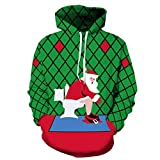 Soupliebe Weihnachten Frauen Männer Liebhaber 3D Print Langarm Hoodie Sweatshirt Pullover Top Kapuzen Sweatjacke Kapuzenpullover Pullover