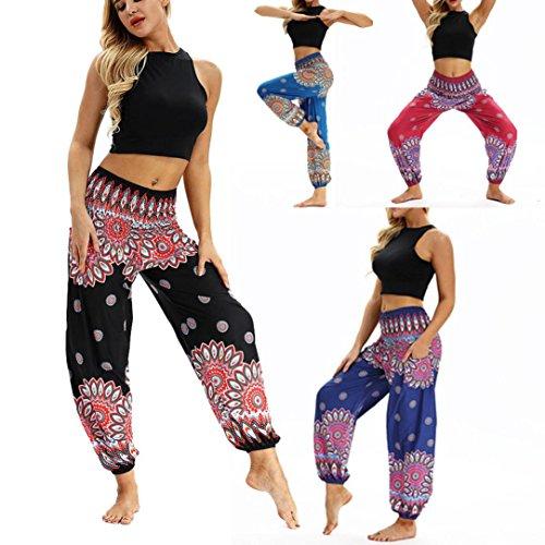 SMILEQ Pants Men Women Casual Loose Hippy Yoga Trousers Baggy Boho Harem Pants