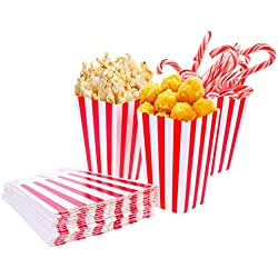 Tankerstreet 0124Unidades Cajas de Palomitas Rojo y Blanco Rayas Bolsa Bolsillos De Papel Candy Contenedor para Fiestas, niños, Regalos, cumpleaños, Cine, Theater, tiaowen8