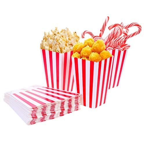 Tankerstreet 01 24 Stück Popcorn-Boxen Rot und Weiß Gestreift Papier Taschen Tüte Candy Container für Party, Kinder, Geschenke, Geburtstage, Kino, Theater, Tiaowen8 (Kleine Popcorn-boxen)