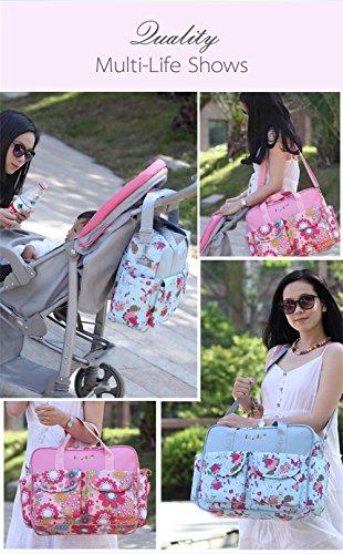 Großer Mummy Tasche Baby Windel Windel Wickeltasche Mama Handtasche Umhängetasche Schultertasche mit verstellbarem Riemen Blue Cart