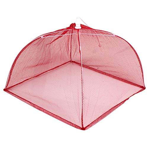 HOMIZE Pop up Mesh Large Screen Food Cover Tent, Reusable and Collapsible Outdoor Food Umbrella, Food Protector Tent Keep Out Flies, Bugs, Mosquitoes, 34 x 26 cm, Red Square