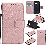 PQ-Mall Coque Pour Samsung A5 2017, Luxe Portefeuille Etui Housse Samsung Galaxy A5 2017 Or Rose