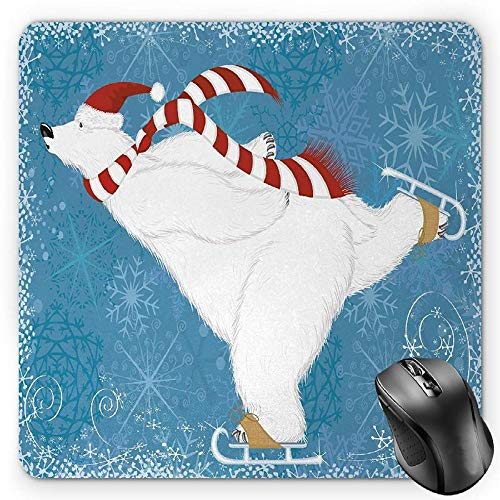Mouse Pad, Polar Bear with Christmas Hat and Scarf Ice Skating Ornamental Snowflakes and Swirls, Standard Size Rectangle Non-Slip Rubber Mousepad, Blue White ()