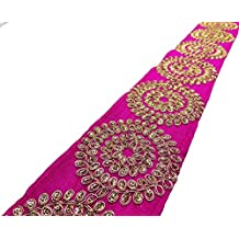 tela de ajuste de la cinta bordada de encaje frontera rosada 7,6 cm de ancho por el patio