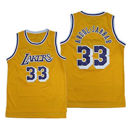73HAHA73 Basketball Spieltrikots für Herren NBA Los Angeles Lakers 33# Kareem Abdul-Jabbar Bestickte Swingman ärmellose Shirts Sweatwear Jerseys,Yellow,XL(180-185cm)
