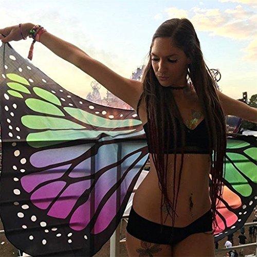Schmetterlingsflügel Muster Kostüm - Flügelkostüm, Stoffschal für Damen von Yipinco7285,147x 65cm im Schmetterlingmuster