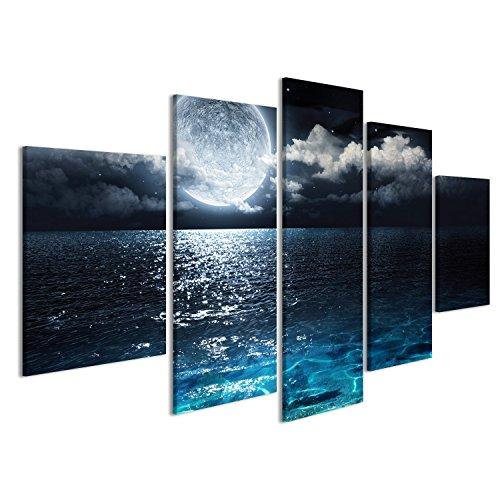 Cuadro Cuadros Impresión sobre lienzo - Formato Grande - Cuadros modernos Luna sobre el mar