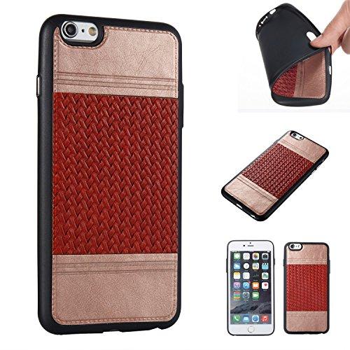 EKINHUI Case Cover Mischfarben Weaving Pattern PU Leder Skin Cover Shell Soft TPU / Silikon Rückseiten Cover Case für iPhone 6 & 6s ( Color : H ) J