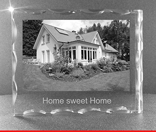 VIP-LASER 2D GRAVUR Glas Kristall Facettierte Scheibe im Querformat XL mit dem Foto Deines Hauses Haus. Dein Wunschfoto für die Ewigkeit mitten in Glas! Groesse XL = 80x100x20mm