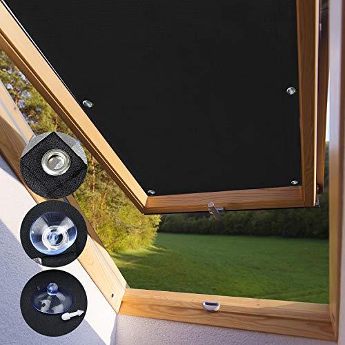 KINLO Sonnenschutz Dachfensterrollo 60 x 93cm - M06 Und 306 Beschichtung für Velux Dachfenster UV Schutz Thermo Rollo mit Sucker Struktur + 7 stabil Saugnäpfe ohne Bohren