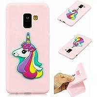 Funda Samsung Galaxy A8 2018 Ttimao Ultra-Delgado Suave Silicona Cubierta Anti-Scratch Anti-Shock TPU Parachoques Cover(Pink Rainbow Horse)