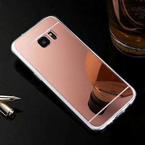 Custodia Cover per Samsung Galaxy S7 edge Samsung G935, Ukayfe Cover Specchio Lusso Placcatura Lucido di Cristallo di Scintillio Strass Diamante Glitter Caso per iPhone 7 Plus[Crystal TPU] [Shock-Abso Oro rosa 2#
