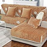 Sofa Handtuch, Sofakissen Winter Universal Plüsch Stoff Einfache Pastorale Moderne Europäische Wohnzimmer Vier Jahreszeiten Kombination Sofa Handtuch (Farbe : Brown, größe : 70 * 210CM(28 * 83inch))
