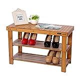 Holz Schuhregal Schuhablage Schuhständer aus Bambus Sitzbank Hocker Schuh Regal