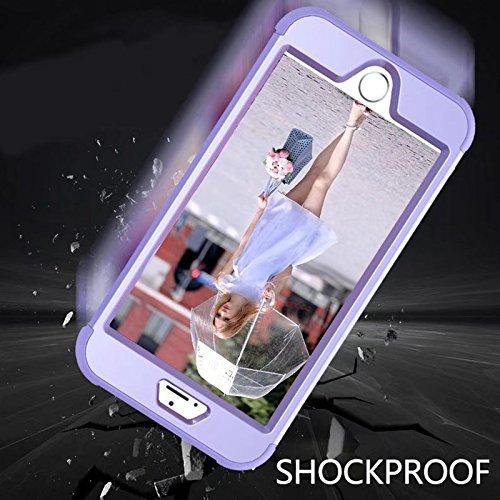 YHUISEN iPhone 8 Plus case, Shock-Absorption Drei-Schicht-Rüstung Defender [Heavy Duty] Robuste Hybrid Schutzhülle für iPhone 8 Plus ( Color : Gray Orange ) Purple