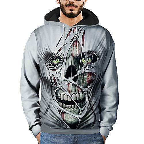 VECDY Herren Bluse,Räumungsverkauf- Mens 3D Printed Skull Pullover Long Sleeve Hooded Sweatshirt Tops Blouse lässige gutaussehende Oberteile(Grau,56