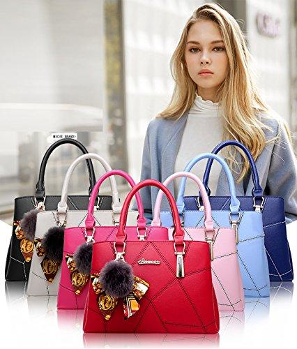 Sunas nuovo Borsa da donna Stile semplicistico Moda Borsa a mano PU Borsa messenger azzurro