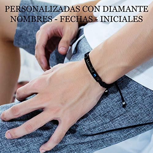Imagen de recontramago pulseras para parejas de novios  personalizadas con nombre  ajustables  fecha iniciales  pulseras de amor mujer hombre acero inoxidable  alternativa