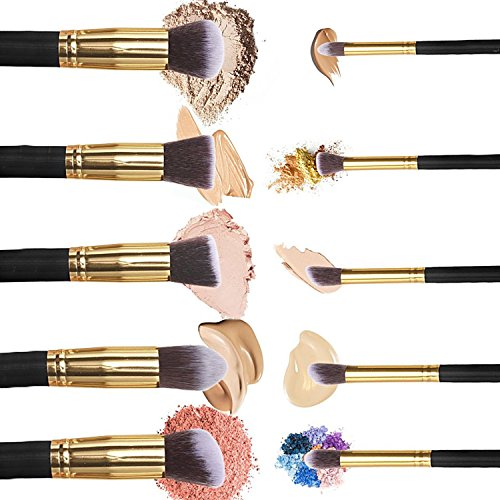 Make Up Pinsel Set, VALUE MAKERS® 10 Teiliges Premium Schminkpinsel Set-Make-Up Pinselset Kosmetik Kabuki Pinsel Sets - 2