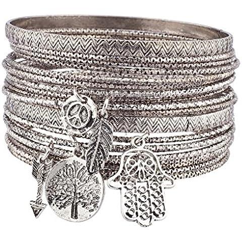 Lux accessori Burnish in argento a forma di albero della vita-Set di Bracciale Boho