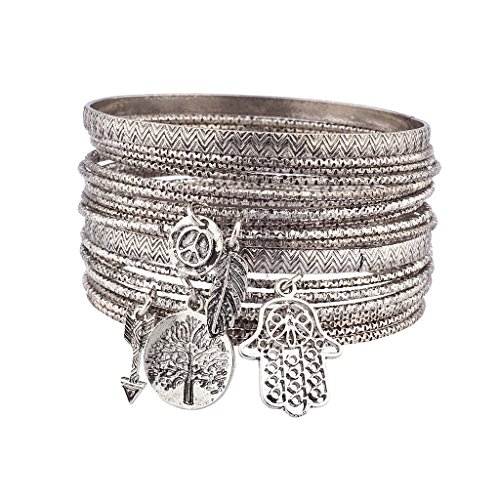 lux-accessories-burnish-silver-tree-of-life-boho-charm-bangle-set