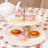 Cheap Deluxe Zwei Etagen Stil Kuchen Stehen U Keramik Kuchen Teller Mit  Metallic Rahmen Und With Rustikales Geschirr