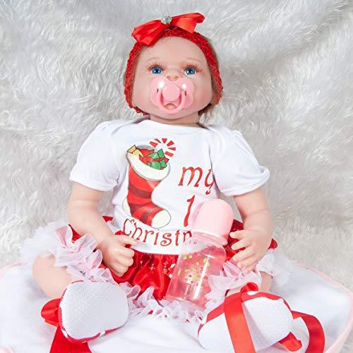 Kongqiabona 55cm Reborn Baby Puppe Spielzeug Foto Requisiten Realistische Weiche Stoff Körper Weihnachten Socken Dekor Neugeborenen PuppeGeburtstag Geschenk