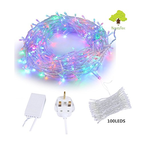 Noza Tec 10M 100LEDs Fairy Lights – Multi Color LED String Lights Indoor Led String Lights for Christmas Xmas Tree Wedding Party Home Events Garden Decoration String Fairy Lights – 8 Lighting Modes, memory function