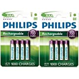 Philips Lot de 8 piles rechargeables AAA 700 mAh 1,2 V