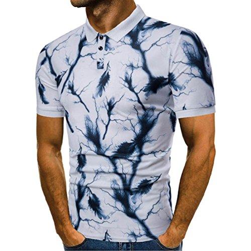 T Shirt Herren, HUIHUI Coole V-Ausschnitt Kurzarm Sweatshirt Slim Fit Basic uv Polo-Shirt Mode Sport Oberteile Oversize Bench Tops CP Man's Sommer Freizeit Hemd Poloshirt (XXXL, Blau)