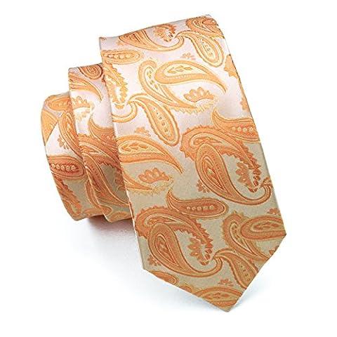Hi-Tie Light Orange Silk Necktie Set for Men Wedding