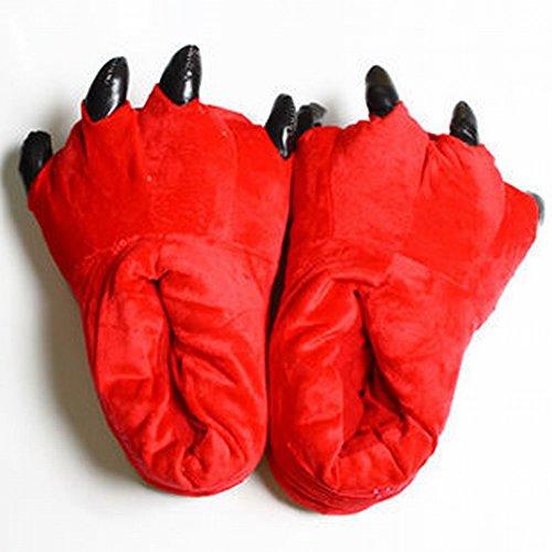 SED Claw Schuhe Unisex Pyjamas Plüsch One Piece Cosplay Tier Kostüm Matching Schuhe,Rot,Kinder (1 Jahr Alt und 5 Jahre Alt)