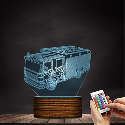 Seba5 Home Rettungs-Feuer-LED-Nachtlicht, Feuerbekämpfungs-LKW 3D optische Täuschungslampe Feuerwehrbüro-Raum-Dekor-Geschenk für Feuerwehrmänner