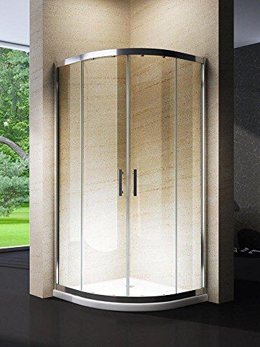 Yellowshop–Cabina ducha de baño curvada semicircular. Tamaño:80x 80cm, cristal 6mm.Transparente, transparente