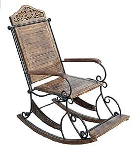 11IMPORTEXPORT.COM Sedia A Dondolo in Legno di Mango E Ferro BATTUTO  Completamente Lavorata A Mano. Rocking Chair