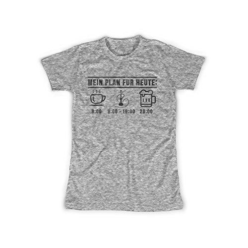 Frauen T-Shirt mit Aufdruck in Grau Gr. L Shisha Plan Kaffee Bier Design Girl Top Mädchen Shirt Damen Basic 100% Baumwolle Kurzarm (Liebe Bier T-shirt Girls)