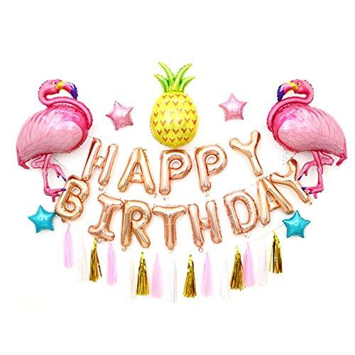 hifuture Happy Birthday Banner und Ballons mehrfarbig Flamingo Ananas Fransen Luftballons Set Party Dekoration für Geburtstag Hochzeit Graduierung Weihnachten New Years Feiern