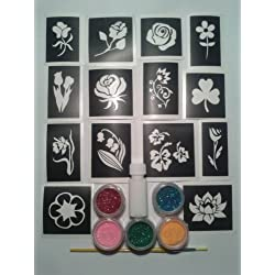 diseño flor conjunto tatuaje purpurina incluyendo 30 plantillas + 5 colores + pegamento purpurina niños Fund Raising tulipán margarita rosa