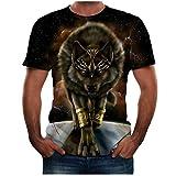 BHYDRY Männer Sommer Neue volle 3D gedruckte T-Shirt Plus Größe S-3XL Cool Printing Top Bluse(Small,Schwarz