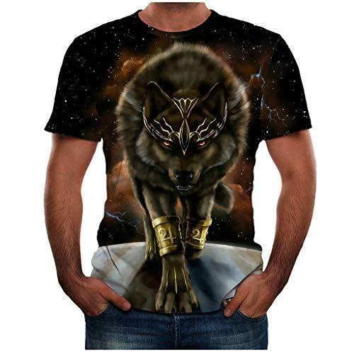 BHYDRY Männer Sommer Neue volle 3D gedruckte T-Shirt Plus Größe S-3XL Cool Printing Top Bluse(X-Large,Schwarz