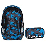 Satch SLEEK Blue Triangle 2er Set Schulrucksack + Schlamperbox