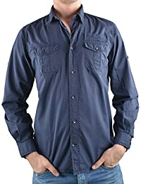 Tom Tailor langarm Hemd dunkelblau gemustert