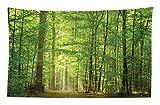 Abakuhaus Wald Wandteppich und Tagesdecke Laub Wald Sommeraus Weiches Mikrofaser Stoff 230 x 140 cm Waschbar ohne Verblassen Grün
