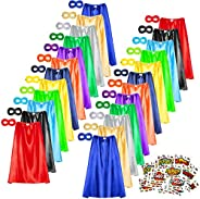 Superhero Capes and Masks Set, 24 Sets Bulk Pack Dress Up Costume for Kids Party, DIY Super Hero Capes with Su