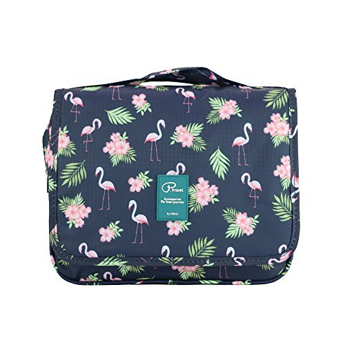 Kulturtasche Frauen zum Aufhängen Kulturbeutel mit Tragegriff Duschbeutel für Damen Männer Mädchen Pflegeprodukte Makeup zur Reisen Urlaub Outdoor Camping (Flamingo-S)